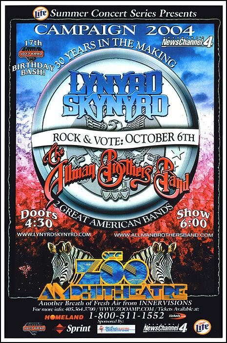 ALLMAN BROTHERS LYNYRD SKYNYRD Original 2004 Oklahoma City Zoo Concert Poster - $20.00
