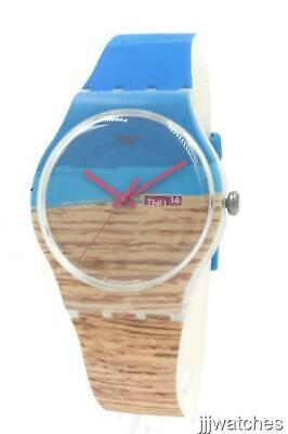 New Swiss Swatch Blue Pine Silicone Band Day Date Watch SUOK706 42mm $75