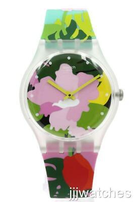 New Swiss Swatch Originals Tropical GARDEN MultiColor Silicone Watch SUOK132 $80
