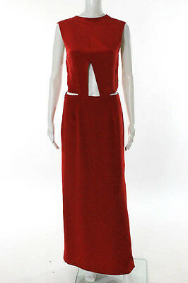 Nomia Red Silk Sleeveless Cut Out Full Length Evening Dress Size 4 New 76823