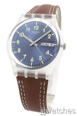 New Swiss Swatch Windy Dune Brown Leather Day Date Watch 34mm GE709 $65