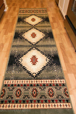 2x8 Läufer Teppich (2x8 Runner Rug Southwest Southwestern Design Medallion  Southern Lodge Green TX)