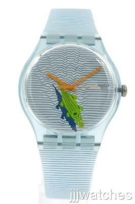 New Swatch Originals POOL SURPRISE Blue Silicone Watch 41mm SUOS107 $75