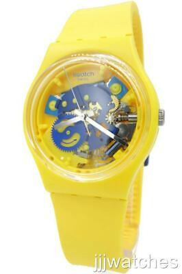 New Swiss Swatch Originals THE POUSSIN Yellow Silicone Watch 34mm GJ136 (Yellow Swatch)