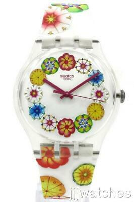 New Swatch Originals Women KUMQUAT White Floral Silicone Watch 41mm SUOK127 $80