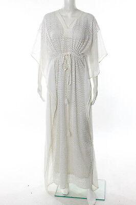 Saloni White Short Sleeve Sheer Full Length Evening Dress Size 2 New 85416