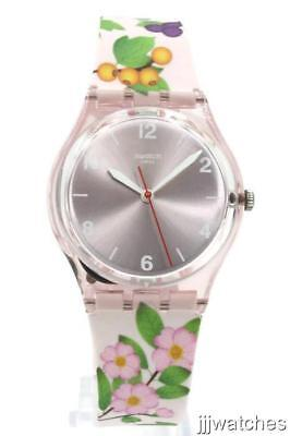 New Swatch Originals MERRY BERRY Pink Floral Silicone Women Watch 34mm GP150 $70