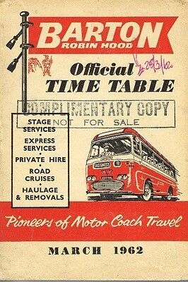 BARTON BUS TIMETABLE BOOK MAR 1962