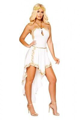 es Größenwahl S M L weiss gold Fasching Karneval Fasnacht (Goldene Göttin Kostüm)