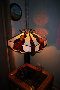 "19"" Square x 10 ½"" High Multi Colored Stained Glass Swag Light."