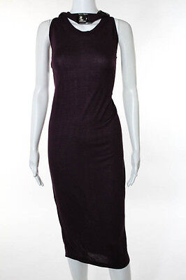 Lanvin Purple Plum Beaded Band Neck Piece Maxi Dress Size Small New
