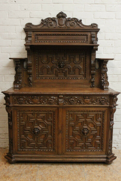 Antique French Renaissance Carved Hunt Buffet Sideboard Cabinet