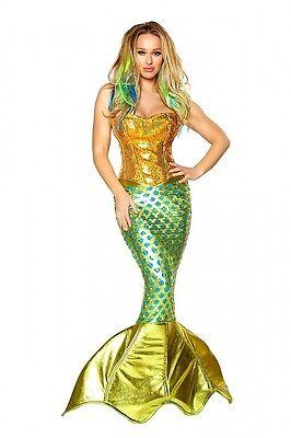 Meerjungfrau Kostüm Mermaid gold grün Pailletten 3 Größen Corsage Rock Karneval ()