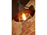 12 Bespoke Iron Caged Restaurant Wall Lamps with Filament Bulbs