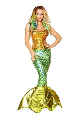 Meerjungfraukostüm Gr.S 32-34 Mermaid Kostüm gold grün Rock Corsage Fasching ()