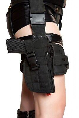 Beinholster Gürtel mit Pistole für Polizei Kostüm Police Cop Pistolenholster (Kostüm Pistolenbeinholster)