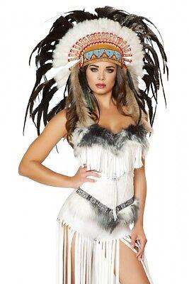 Indianer Kostüm weiß Shorts Corsage 2-teilig lange Fransen - Pelz Damen Kostüme