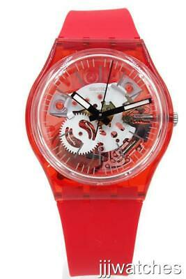 New Swiss Swatch ROSSO BIANCO Skeleton Red Silicone Watch 34mm GR178 $70