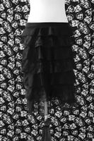 Black Gothic Lolita Victorian Fairy Lace Tiered KneeLength Skirt