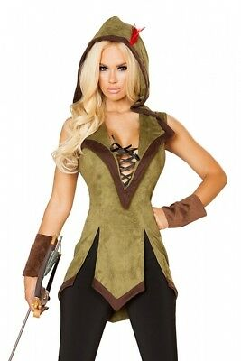Robin Hood Kostüm Cape grün Feder rot Manschetten S M L Karneval Fasching