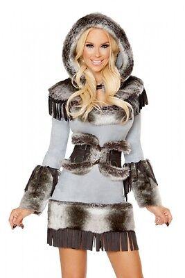 Eskimo Kostüm Deluxe grau Gr.40 L Pelzimitat Kleid - Pelz Damen Kostüme