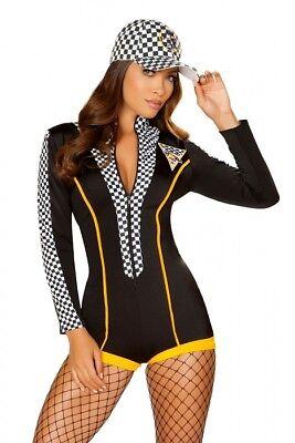 Rennfahrer Boxenluder Overall Anzug schwarz checker Grid Girl Kostüm Karneval