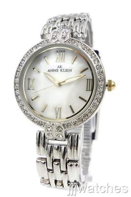 New Anne Klein Silver Tone Mother Of Pearl Crystal Women Watch 30mm 10/8639MPTT