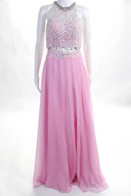 NWT Splash Prom Pink White Jeweled Crochet Knit Two Piece Formal Gown Size 4