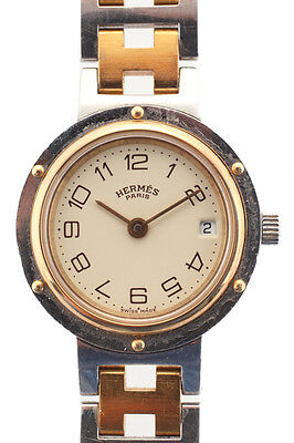 Hermes Silver Tone Stainless Steel Two Tone Clipper Womens Watch WP4680HER MHL
