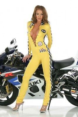 Boxenluder Overall Anzug Rennfahrerin gelb checker Grid Girl Kostüm Karneval - Rennen Kostüm