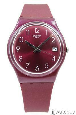 New Swatch REDBAYA Silicone Metallic Dark Strawberry Date Watch 34mm GR405 $65