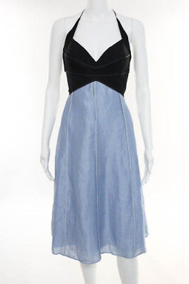 Narcisco Rodriguez Black Blue Spaghetti Sweetheart Neckline Dress Size 10 LL19LL