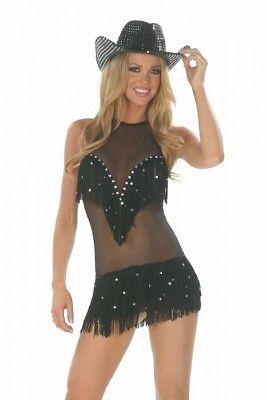 Cowgirl Kostüm Kleid Strass bunt Gr.32-34  Mesh schwarz Fransen Flapper Karneval