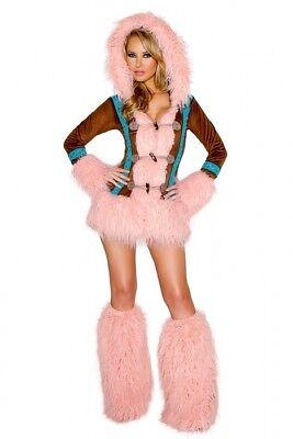 Eskimo Kostüm Mantel Gr.XL 42 mit Stulpen Pelzimitat - Pelz Damen Kostüme