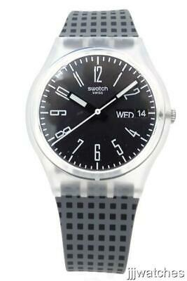 New Swatch Originals EFFICIENT Matte Gray Silicone Day-Date Watch 34mm GE712 $65