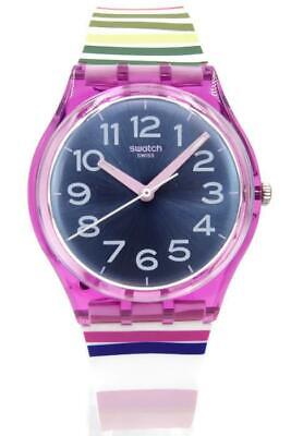 New Swatch Originals FUNNY LINES Multi-Color Silicone Women Watch 34mm GP153 $65
