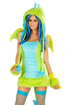 Grüner Drache Kostüm Gr.42 Drachenkostüm Kleid mit Schwanz - Kostüme Mit Grünem Kleid