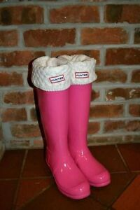 Pink AUTHENTIC Hunter Boots with Cream Socks St. John's Newfoundland image 1