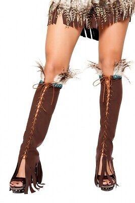 Indianer Kostüm Beinstulpen dunkel braun Federn geschnürt Beinlinge Legwarmer