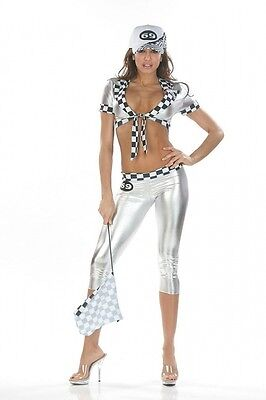 Boxenluder Outfit Kostüm silber Gr. S 32-34 Top Hose Grid Girl Racing Girl - Racing Girl Kostüm