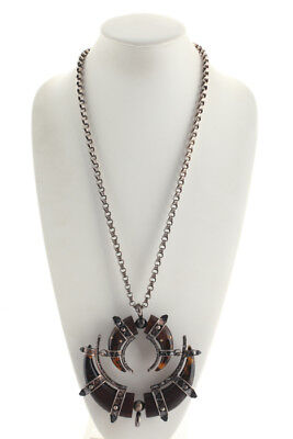 Lanvin Silver Tone Chain Link Rhinestone Double Horn Necklace