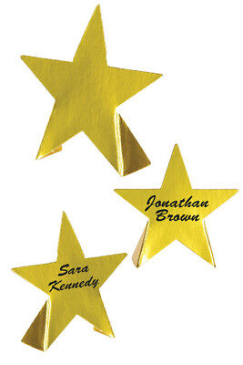 8 GOLD FOIL STAR PLACE CARDS NAME HOLLYWOOD OSCARS PARTY TABLE DECORATION STARS ()