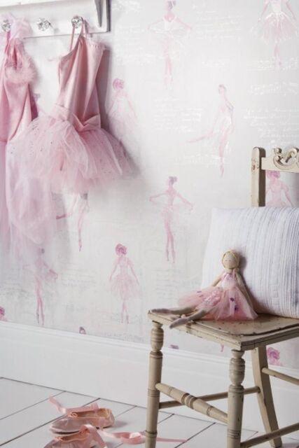 Pirouette Pink Ballerina Kids Childrens Girls Glitter Feature Wallpaper 668200