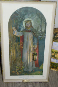 18 1/2in x 32in The light of the world, Holman Hunt