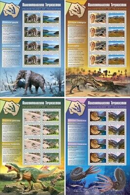 Tajikistan Paleontology Stamps 2020 MNH Fossils Ammonites Dinosaurs 4x 8v M/S