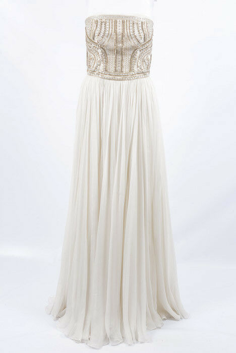 Alexander McQueen white 6 S 42 embellished silk chiffon gown dress NEW $10445