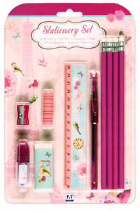 Girls Vintage Bird Cage Shabby Chic Style Stationary Set Pens Party Gift School