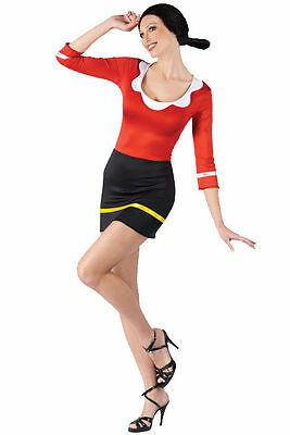 NEW Olive Oyl Sexy Adult Halloween Costume Popeye the Sailor Man Womens Dress (Halloween Kostüm Popeye)
