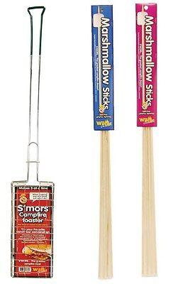S'mores Campfire Roaster Maker Plus 12 Wooden Marshmallow Roasting Sticks (S Mores Sticks)