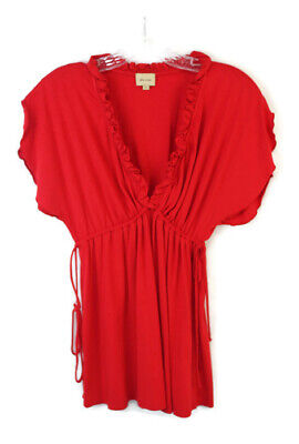 Ella Moss M Red Pima Cotton Flutter Sleeve V-Neck Peplum Top Side Ties Ella Moss Flutter Sleeve Top